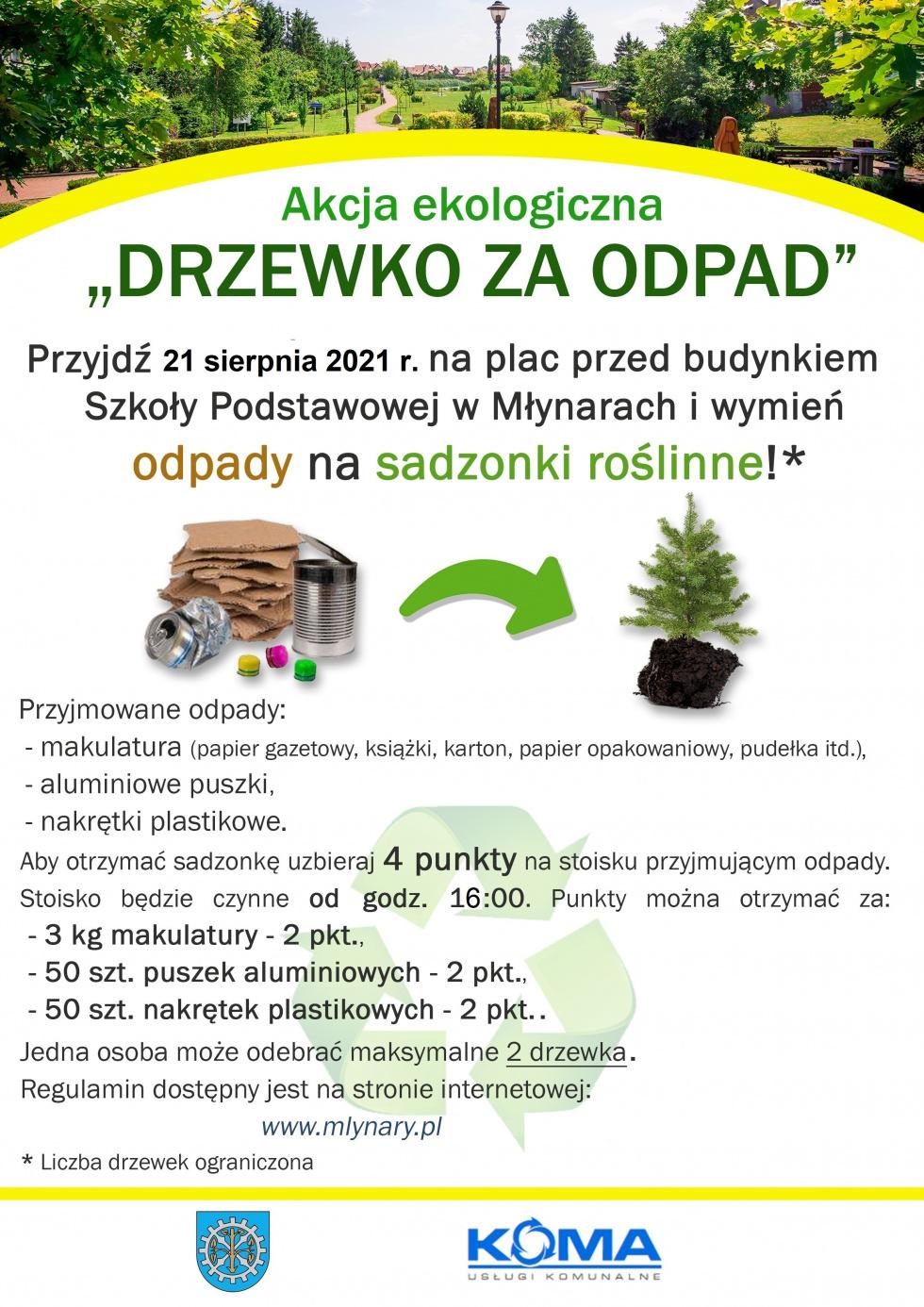 """Kolejna edycja akcji ekologicznej """"Drzewko za odpad"""""""