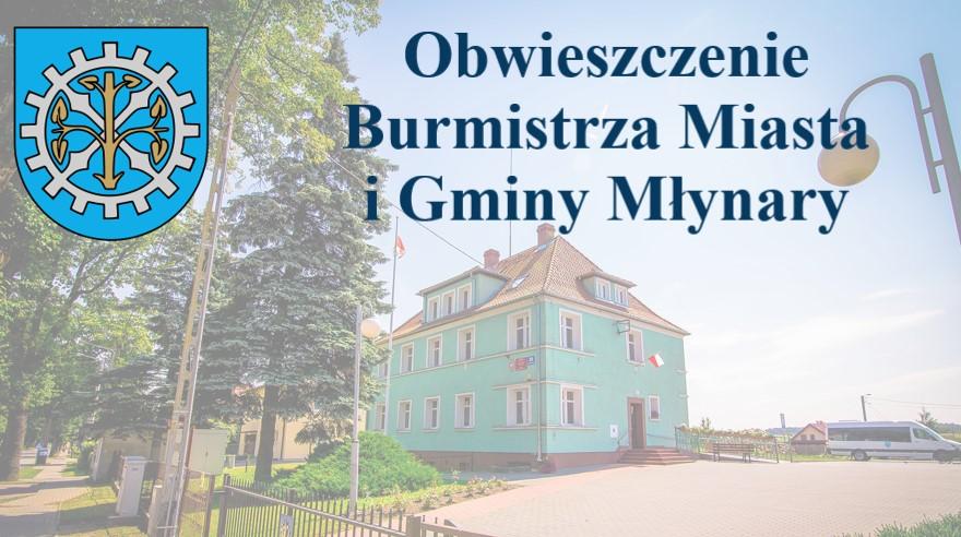 Obwieszczenie II Burmistrz MiG Młynary o planie polowań zbiorowych na sezon 2021-2022
