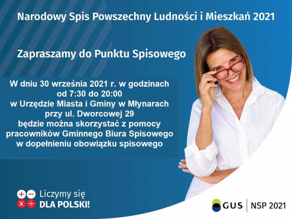 W dniu 30 września 2021 r. w godzinach od 7:30 do 20:00 czynny będzie Punkt Spisowy